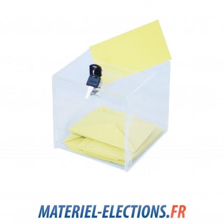 Urne de vote 60 votants plexiglas transparent avec 1 verrou - Assesseur titulaire bureau de vote ...