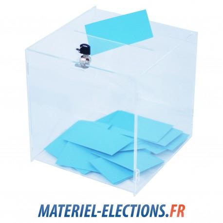 Urne de vote 450 votants en plexiglas avec un verrou