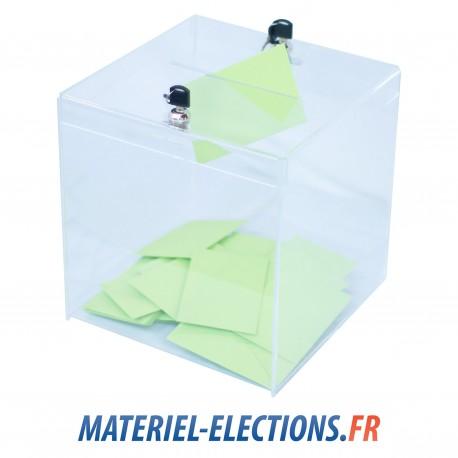Urne de vote 480 votants plexiglas 2 verrous.