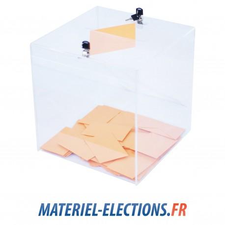 Urne de vote 1000 votants plexiglas 2 verrous.