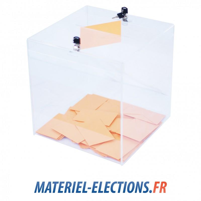 Urnes de vote 1000 votants en plexiglas fermeture 2 verrous - Organisation bureau de vote ...