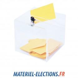 Urne de vote 200 votants plexiglas avec un verrou.
