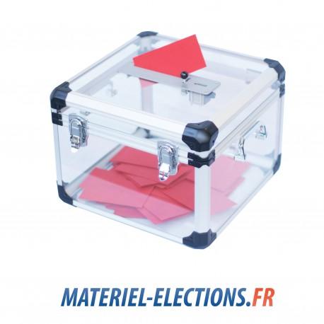 Urne de vote 600 votants en plexiglas avec double fermeture et compteur.