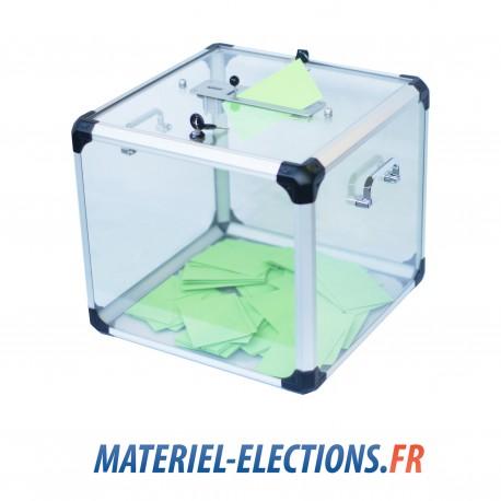 Urne de vote 1200 votants en plexiglas avec double fermeture et compteur.