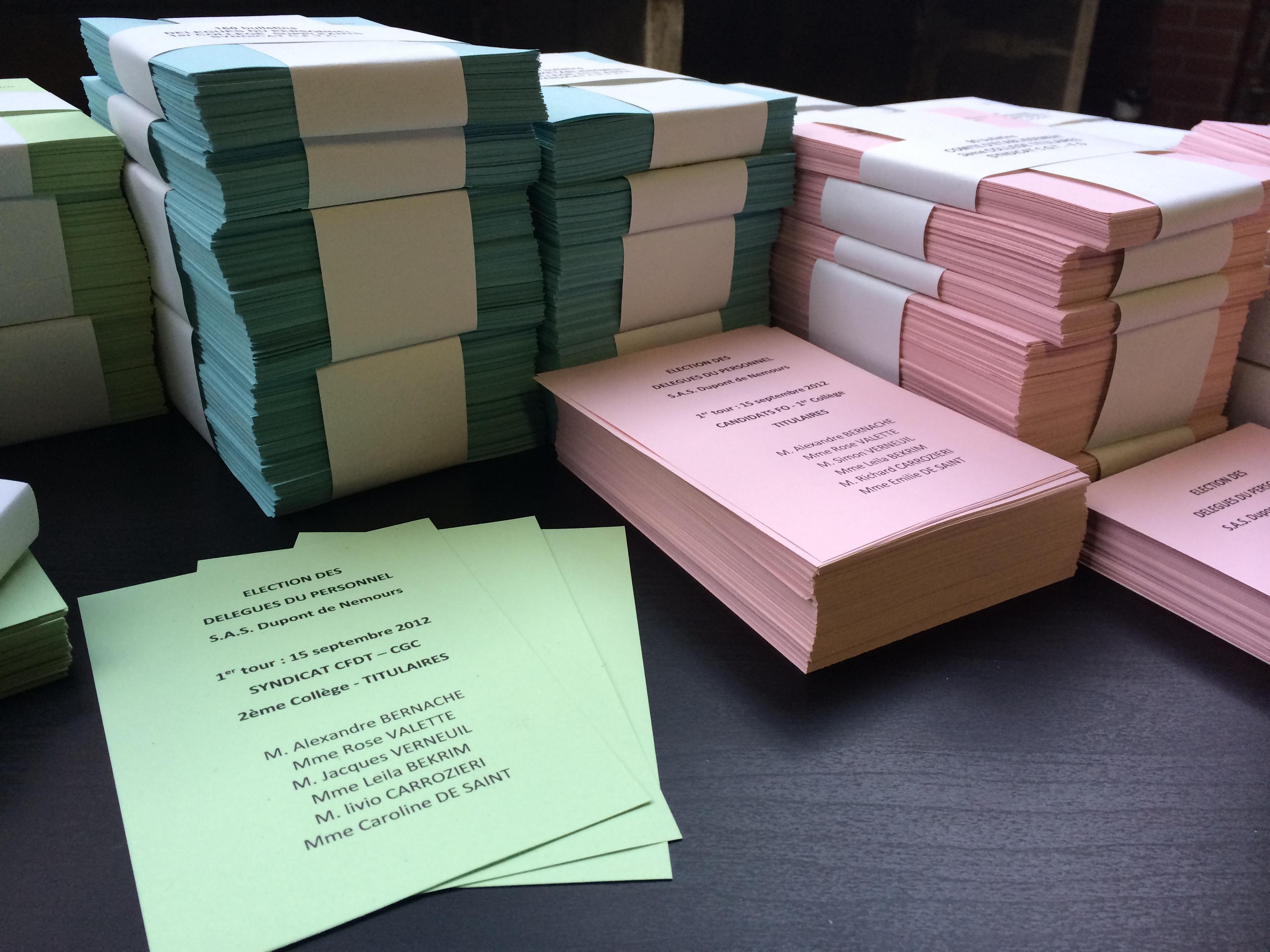 bulletins de vote de couleur pour organisation des lections professionnelles materiel. Black Bedroom Furniture Sets. Home Design Ideas